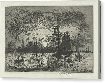 Sunset At The Port Of Antwerp, Belgium, Johan Barthold Canvas Print by Johan Barthold Jongkind
