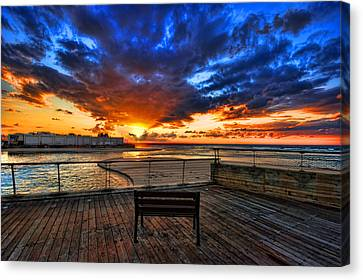 Canvas Print featuring the photograph sunset at the port of Tel Aviv by Ron Shoshani