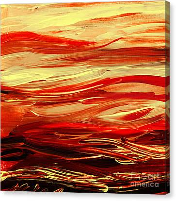 Sunset At The Red River Abstract Canvas Print by Irina Sztukowski