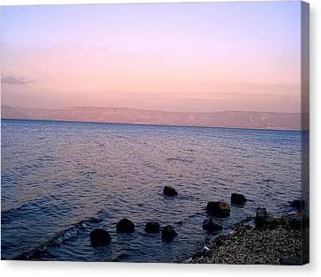 Gospel Of Matthew Canvas Print - Sunset At The Sea Of Galilee by Sandra Pena de Ortiz