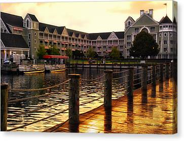Sunset At The Yacht And Beach Club Walt Disney World Canvas Print by Thomas Woolworth