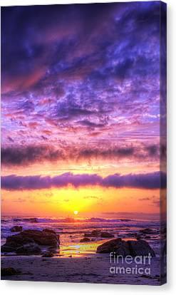 Sunset At Treasure Cove Canvas Print by Eddie Yerkish