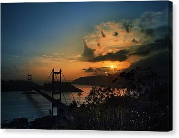Sunset At Tsing Ma Bridge Canvas Print