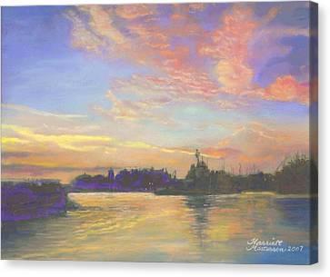 Sunset At Victoria Harbor Canvas Print by Harriett Masterson