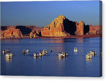 Sunset At Wahweap Marina, Glen Canyon Canvas Print by Michel Hersen
