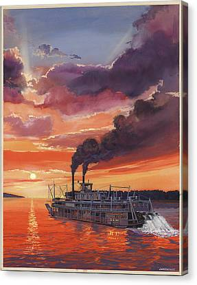 Sunset Bald Eagle Steamboat Canvas Print