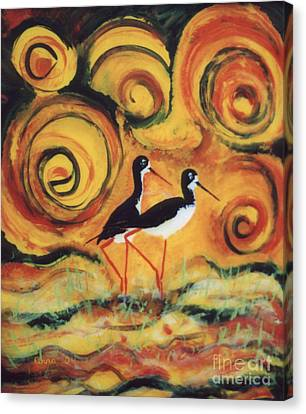Canvas Print featuring the painting Sunset Ballet by Anna Skaradzinska