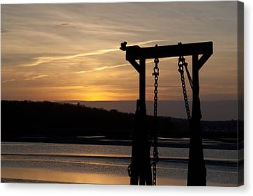 Sunset Barge  Canvas Print by Eugene Bergeron