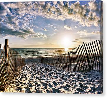 Canvas Print featuring the photograph Sunset Beach 30a Rosemary Florida White Sand Pathway Art by Eszra