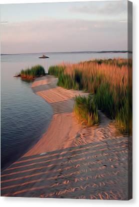 Canvas Print featuring the digital art Sunset Beach by Kelvin Booker