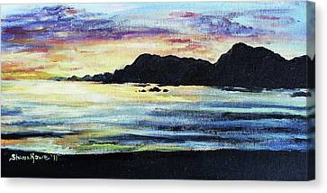 Canvas Print featuring the painting Sunset Beach by Shana Rowe Jackson