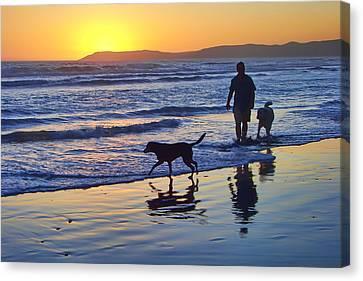 Sunset Beach Stroll - Man And Dogs Canvas Print by Nikolyn McDonald