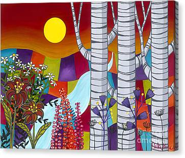 Sunset Birches Canvas Print by Carla Bank