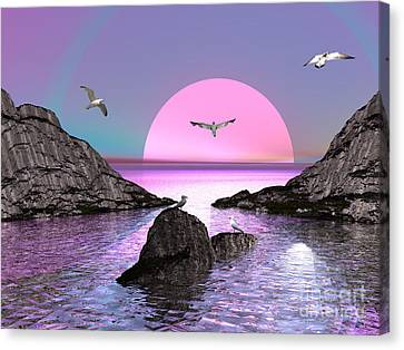 Sunset Birds In Flight Canvas Print