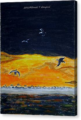 Sunset Birds Canvas Print by Sonali Gangane