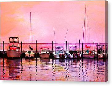 Sunset Boats Canvas Print by Laura Fasulo