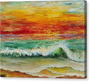 Canvas Print featuring the painting Sunset Breeze by Teresa Wegrzyn