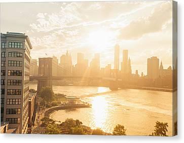 Nyc Canvas Print - Sunset - Brooklyn Bridge - New York City by Vivienne Gucwa