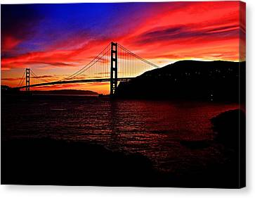 Canvas Print featuring the photograph Sunset By The Bay by Dave Files