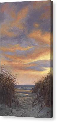 Sunset By The Beach Canvas Print by Lucie Bilodeau