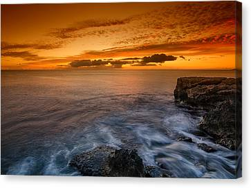 Sunset By The Cliff Canvas Print