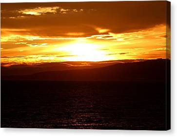 Sunset By The Fjord Canvas Print