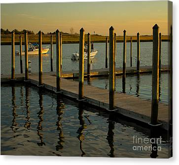 Canvas Print featuring the photograph Sunset By The Marina Two by Jose Oquendo