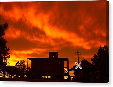 Sunset Caboose Canvas Print