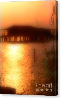Sunset Camp On Lake Pontchartrain In New Orleans Louisiana Canvas Print by Michael Hoard