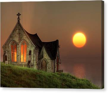 Sunset Chapel By The Sea Canvas Print