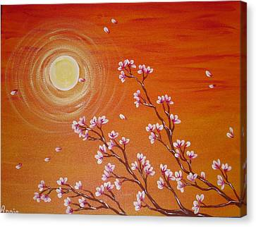 Sunset Cherry Blossoms Canvas Print by Angie Butler