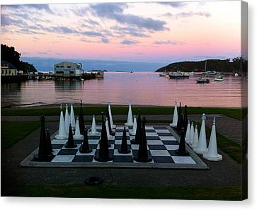 Sunset Chess At Half Moon Bay Canvas Print