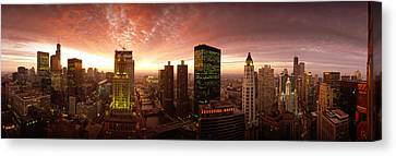Chicago River Canvas Print - Sunset Cityscape Chicago Il Usa by Panoramic Images