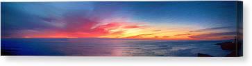 Sunset Cliffs Panorama Painting Canvas Print by John Haldane