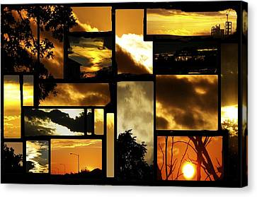 Sunset Collage Canvas Print by Cherie Haines