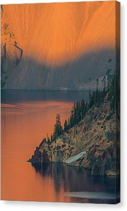 Sunset Colors The Waters At Crater Lake Canvas Print