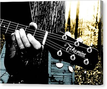 Sunset Country Pickin Canvas Print by Kristie  Bonnewell