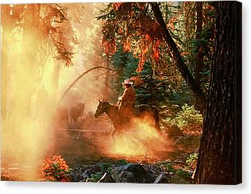 Sunset Cowboy Canvas Print by Diane Bohna