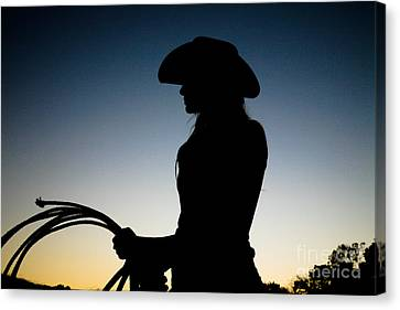 Sunset Cowgirl Canvas Print by Jt PhotoDesign