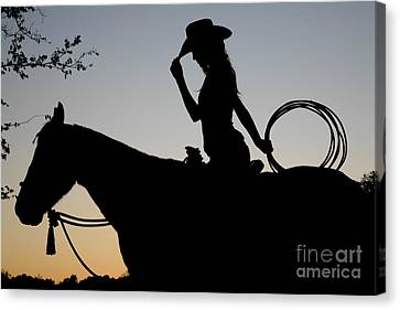 Sunset Cowgirl With Horse Canvas Print by Jt PhotoDesign