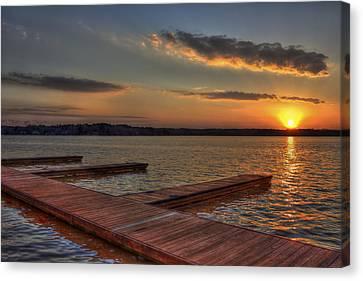 Sunset Docks On Lake Oconee Canvas Print by Reid Callaway