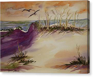 Canvas Print featuring the painting Sunset Dunes by Roxanne Tobaison