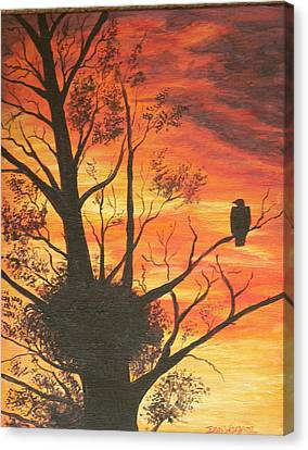 Canvas Print featuring the painting Sunset Eagle by Dan Wagner