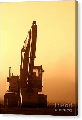 Canvas Print featuring the photograph Sunset Excavator by Olivier Le Queinec