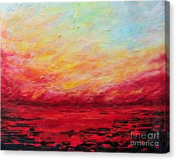 Sunset Fiery Canvas Print by Teresa Wegrzyn