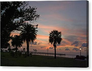 Canvas Print featuring the photograph Sunset Fisherman by Judy  Johnson