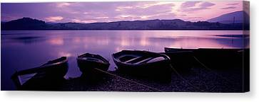 Sunset Fishing Boats Loch Awe Scotland Canvas Print by Panoramic Images