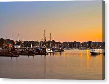 Sunset Fishing Canvas Print by Frozen in Time Fine Art Photography