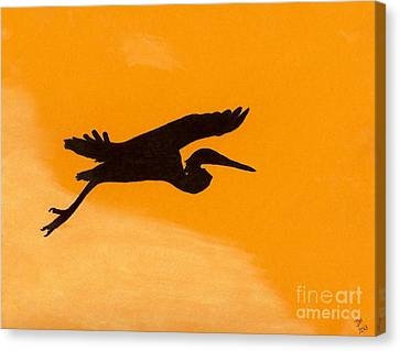 Canvas Print featuring the drawing Sunset Flight by D Hackett