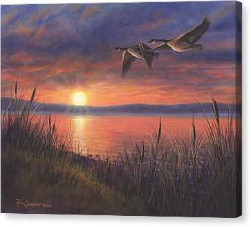 Canvas Print featuring the painting Sunset Flight by Kim Lockman